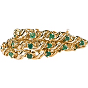 Lovely Vintage 1.04ctw Emerald Bracelet 14k Gold Twist Tennis Link