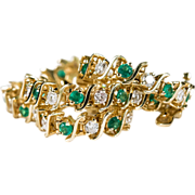 3.63 Emerald Diamond Bracelet 14k Gold S Link Tennis