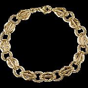 SALE Charm Bracelet 585 14k Gold Cage Link Charm Bracelet