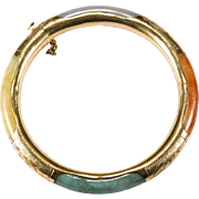 Heart Clasp Multi Color Genuine Jade 585 14k Gold Hand Etched Hinged Bangle
