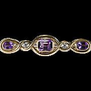 4.80ctw Old European Cut Diamond Amethyst Brooch 14k Rose Gold Pin