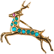 Jumping Reindeer Turquoise Ruby Pin 22k Gold Hand Crafted Diamond Cut Deer Brooch