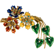 Gorgeous Enamel Shooting Star Flower Brooch 750 18k Gold