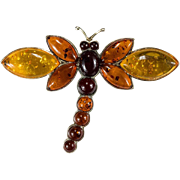 Fantastic Cherry Yellow & Baltic Amber Dragonfly Brooch 925 Sterling Silver