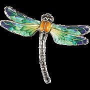 Hand Painted Enamel Dragonfly 925 Sterling Italian Designer Brooch Pin