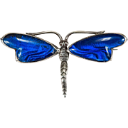 SALE English Morpho Butterfly Wing 925 Sterling Silver Signed Quartz Dragonfly Brooch