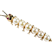 Large Caterpillar Pearl Ruby Brooch 14k Gold Cultured Pearl Pin