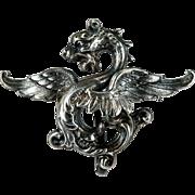 Griffin Watch Pin Sterling Gargoyle Watch Clip Brooch