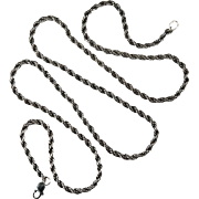 Classic Vintage Oxidized Sterling Silver Rope Chain