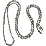 Classic Vintage 925 Sterling Silver Rope Chain