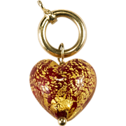 Original Michael Anthony Glass Heart 14k Gold 24k Gold Flake Charm Clasp Pendant