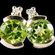 Natural Peridot Diamond Studs 14k Gold Pierced Stud Earrings