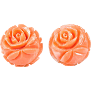 Sweet Hand Carved Natural Angel Skin Coral Studs 14k Pierced Coral Earrings