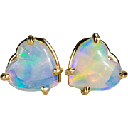 Natural Opal Heart Earrings 14k Gold Opal Stud Earrings