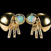 Natural Opal Ladybug Earrings 14k Gold Pierced Studs