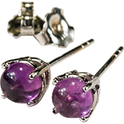 Natural Amethyst Earrings 14k Gold Purple Cabochon Amethyst Studs