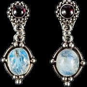 Natural Moonstone Garnet Earrings 925 Sterling Silver Moonstone Earrings