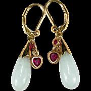 Jade Ruby Heart Charm 14k Gold Jade Earrings