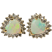 Natural Heart Opal Diamond Stud Earrings 14k Gold Opal Heart Studs