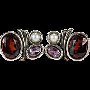Natural Garnet Amethyst Pea Pearl 925 Sterling Silver Stud Earrings