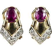 Pretty In Pink Tourmaline Diamond Earrings 14k Gold Pierced Omega Back
