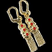 SALE Mediterranean Red Coral Earrings 585 Italy 14k Gold Pierced Dangle Tassel Earrings