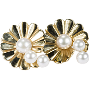 Scallop Sea Shell Cultured Pearl Earrings 14k Gold Pierced Stud