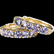 """SOLD Genuine Tanzanite Hoop Earrings 14k Gold 3/4"""" Hoops Tanzanite Earrings"""