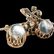 SOLD Victorian Cats Eye Moonstone Earrings 10k Gold Pierced Moonstone Pools Of Light Earrings