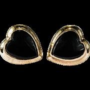 SALE Natural Black Onyx Heart Studs 10k Gold PS & Co Designer Screw Back Stud Earrings