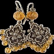 Genuine Imperial Topaz Earrings 925 Sterling Silver Designer Stephen Dweck Original Pouch