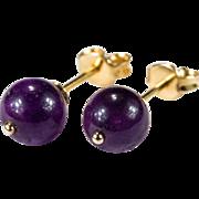 Large Natural Amethyst Studs 14k Gold Pierced Stud Earrings