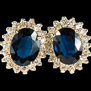 SOLD Genuine Sapphire Diamond Stud Earrings 585 14k Gold Pierced Studs