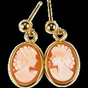 Hand Carved Shell Cameo Earrings 14k Gold Pierced Dangle Earrings