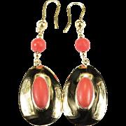 SALE Natural Pink Coral Earrings 750 18k Pierced Dangle Earrings