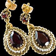 Genuine Garnet Pea Pearl Earrings 14k Gold Pierced Dangle Earrings