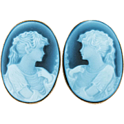 Carved Cameo Blue Stone Agate Earrings 14k Gold Pierced Van Dell Pierced Stud Blue Cameo ...