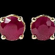 1.25ctw Genuine Ruby Stud Earrings 14k Gold Basket Studs Pierced Ruby Earrings