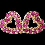 SALE Genuine Ruby Open Heart Earrings 10k 14k Plumb Gold Pierced Stud Earrings