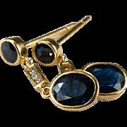 2.62ctw Sapphire Diamond 18k Pierced Dangle Earrings
