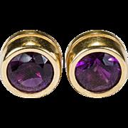 Bezel Set Natural Amethyst Stud Earrings 585 14k Gold Pierced Studs