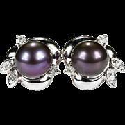 Black Purple Tahitian Cultured Pearl Diamond 14k Gold Stud Earrings