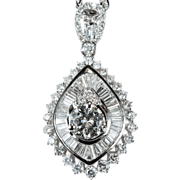 3.5ctw Diamond Necklace 18k Plumb Gold 750 Pendant Chain