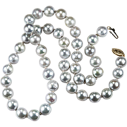 South Sea Baroque Silver Pearl Necklace 14k Gold Strand