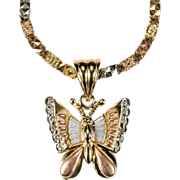 Butterfly Pendant Rock Crystal 14k Tri Gold Chain Necklace