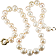 Salt Water Baroque Pearl Necklace 18k Yellow Gold Hand Knotted Silk Cultured Pearl Strand