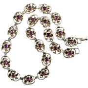 8ctw Rare Amethyst Pansy Flower Sterling Necklace
