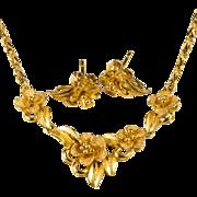 Hawaiian Plumeria Flower Earrings Necklace Set 21k Gold Flower Lavalier Chain Stud Earrings