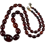 SALE Antique Natural Cherry Amber Necklace Beaded Strand