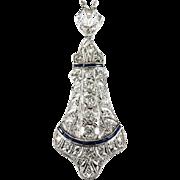 Old European Cut Diamond Sapphire Platinum Brooch Pendant Necklace